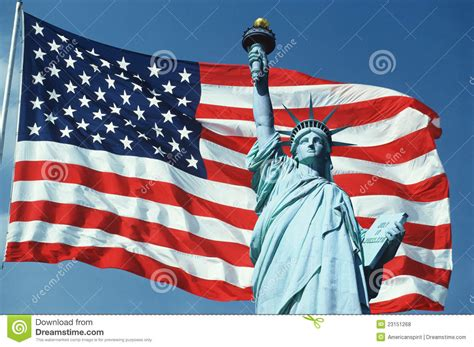 Collage Of Statue Of Liberty Over American Flag Stock