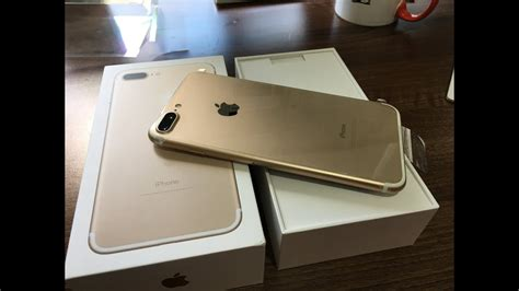 iPhone 7 Plus Gold 128gb Unboxing - YouTube