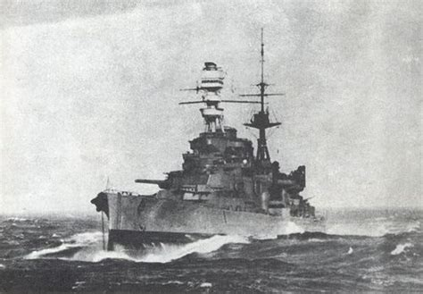 A dramatic bow view of battlecruiser HMS Repulse (34) in
