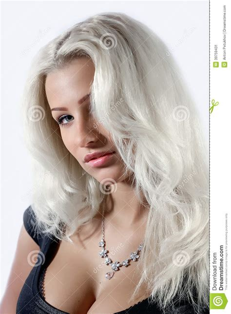 Beautiful Woman With White Hair Stock Image - Image: 39759431