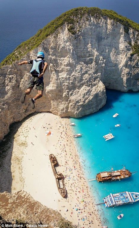 BASE jumpers flock to Greece for a breathtaking dive above